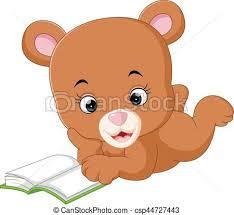 cute bear reading book cartoon csp44727443