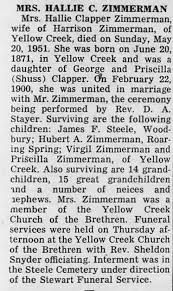 Obituary for Hallie Clapper ZIMMERMAN, 1871-1951 - Newspapers.com