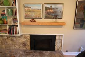 mid century modern fireplace mantle after picture