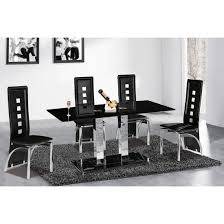 holly rectangle black glass dining table and 6 miller chairs