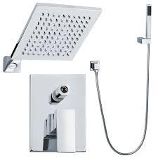 Komplett Unterputz Duschset Duschsystem Eckig 2 Wege Chrom Regendusche Sanlingo