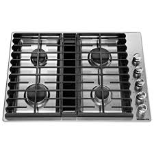 gas downdraft cooktop in stainless steel with 4 burners
