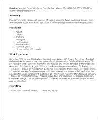 Mechanic Resume Template Classy Process Technician Resume Template Best Design Tips