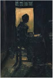 open door painting. Image Only - Van Gogh: Peasant Woman Seated Before An Open Door, Peeling Potatoes Door Painting