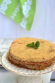 Russian Honey Cake Medovik with Eggless Custard Filling