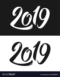 Black And White Greeting Card New Year 2019 Greeting Card In Black And White Vector Image