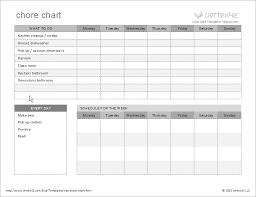 Blank Chart Template Kids Weekly Chore Chart Templates