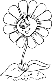 Small Picture Spring Flower Coloring Page Flower With Goofy Smile