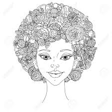 fashion woman with abstract hair of cans sweets and lollypos uncoloured black and white ornament