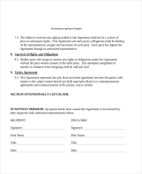 Standard Nda Agreement Template Free 7 Sample Non Disclosure Agreement Forms Pdf