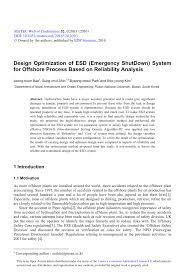 Emergency Shutdown System Design Philosophy Pdf Design Optimization Of Esd Emergency Shutdown System