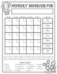Daily Behavior Chart Template For Kindergarten Monthly Behavior Chart For Kindergarten Behavior Chart