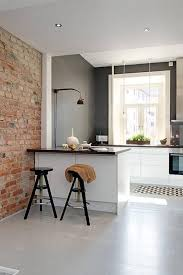 Cool Small Kitchen Kitchen Interior Brick Wall Accent Also Cool Small Kitchen Ideas