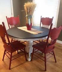 dining set in java gel stain and brick red milk paint table and chairsred