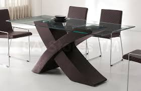 ... Dining Tables, Amusing Brown Rectangle Modern Glass Dining Table Base  Varnished Design: modern dining ...