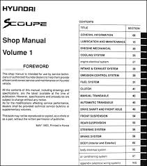 hyundai scoupe repair shop manual original volume set this manual covers all 1994 hyundai scoupe models including turbo ls these books measure 8 5 x 11 and are 1 63 thick