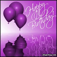 Happy Birthday Purple Balloons Ripples Glitter Graphic Greeting