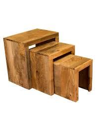 ambala cube light mango wood nest of tables