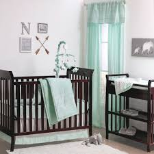 the peanut shell 4 piece baby crib bedding set mint green native american tribal geometric design 100 cotton quilt dust ruffle fitted sheet