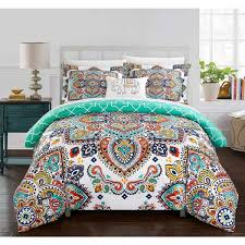chic home reece 4 piece aqua blue reversible large scale paisley print duvet cover set