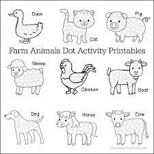 Animal Activity Chart Farm Animals Dot Activity Worksheets The Resourceful Mama