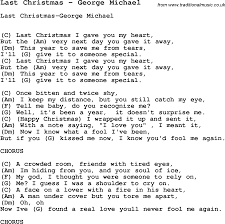 Song Last Christmas by George Michael, song lyric for vocal performance  plus accompaniment chords for Ukulele, Guitar, Banjo etc.