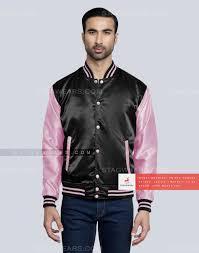 Black Baby Pink Cheerleader Satin Jacket