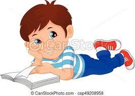 cute little boy reading book csp49208958