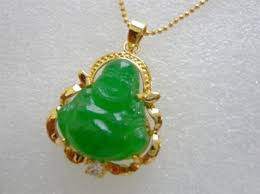 details about emerald green jade buddha yellow gold plated crystal pendant necklace