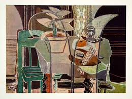 1948 rotogravure interior still life cubism abstract table chair georges braque
