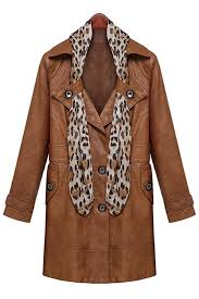 brown faux leather lapel scarf detail trench coat