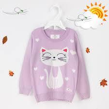 Áo len dài tay Mamago in hình mèo con cho bé gái (màu tím)