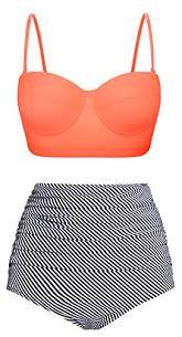 Angerella Pin Up High Waist Swimsuit Bikinis Swimwear Bathing Suit Bki031 O1 M Us4 6 Tag Size M Orange