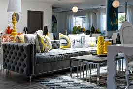 Living Room Furniture Accessories Furniture Various Graphic And Colors Of Cushions And Yellow