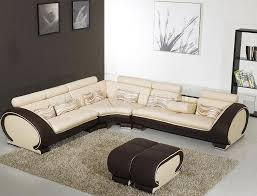 modern living room with leather couch