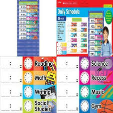 Scholastic Daily Schedule Pocket Chart Teachers Students School Classroom Colorful Daily Schedule