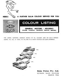 1961 Holden Paint Charts And Color Codes