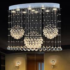 modern k9 crystal chandelier 3 circles led ellipse pendant light