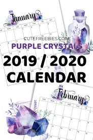 2020 monthly planner template free printable 2019 2020 calendar crystal gems cute