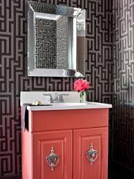 Dark Red Bathroom Dark Grey Gemetrics Bathroom Wallpaper Ideas With Red Cabinet