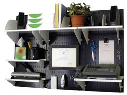 wall mounted office. Wall-Mounted Home \u0026 Office Organizer Kit - Black Wall Panels With Accessories Mounted O
