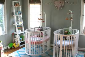 Best Cribs Cool Grey Painted Baby Nursery For Twin Furnished With White