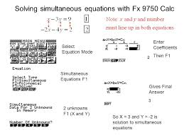 solving simultaneous equations with fx 9750 calc