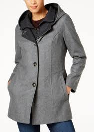 london fog hooded wool blend peacoat