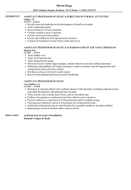 Music Resume Example Professor Sample Production Examples