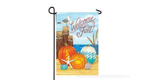 welcome fall coastal pumpkins flag