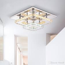 modern crystal led ceiling lights fixture square surface mounting crystal ceiling lamp hallway corridor asile light chandelier ceiling light stained glass
