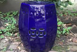 blue garden stool. Octagonal Navy Blue Garden Stool