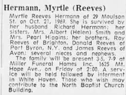 Obituary of Myrtle (Reeves) Hermann (d. 1969) p4B c3 - Newspapers.com