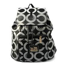 Coach Classic In Signature Medium Black Backpacks EJA